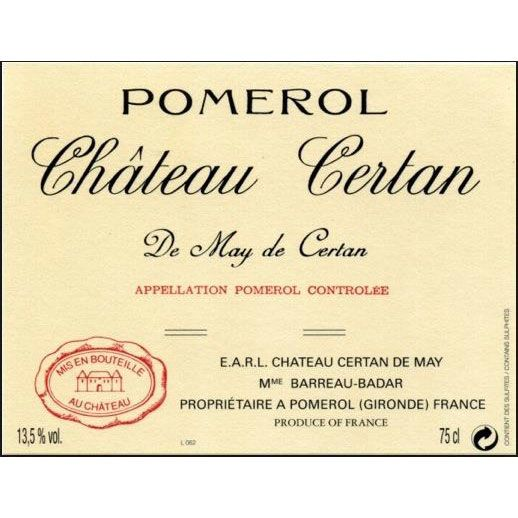 Chateau Certan de May  1982 Front Label