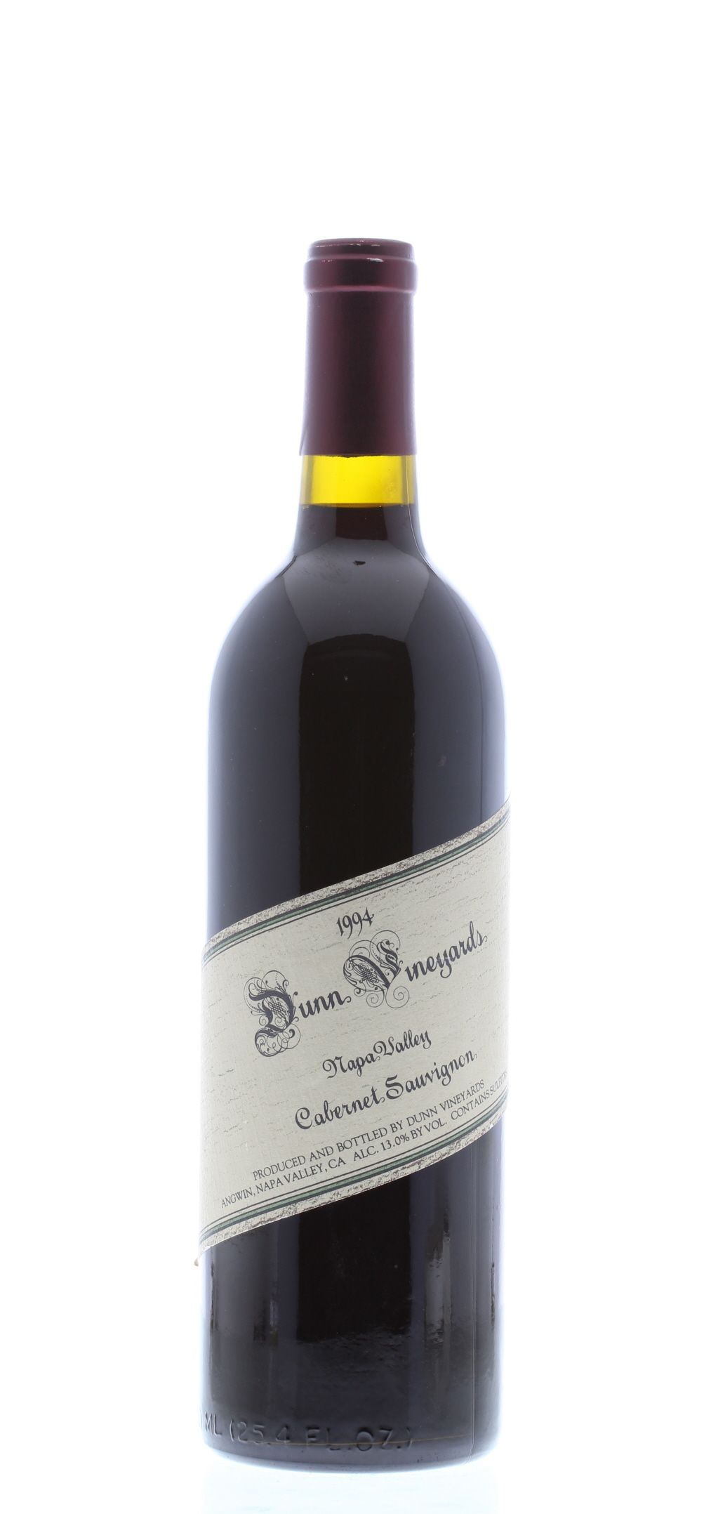 Dunn Napa Valley Cabernet Sauvignon 1994 Front Bottle Shot