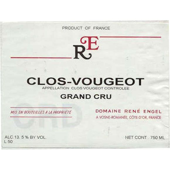 Rene Engel Clos Vougeot Grand Cru 1995 Front Label