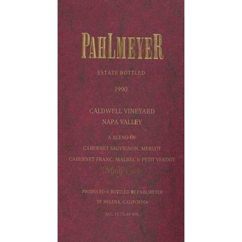 Pahlmeyer Caldwell Vineyard Napa Valley 1990 Front Label