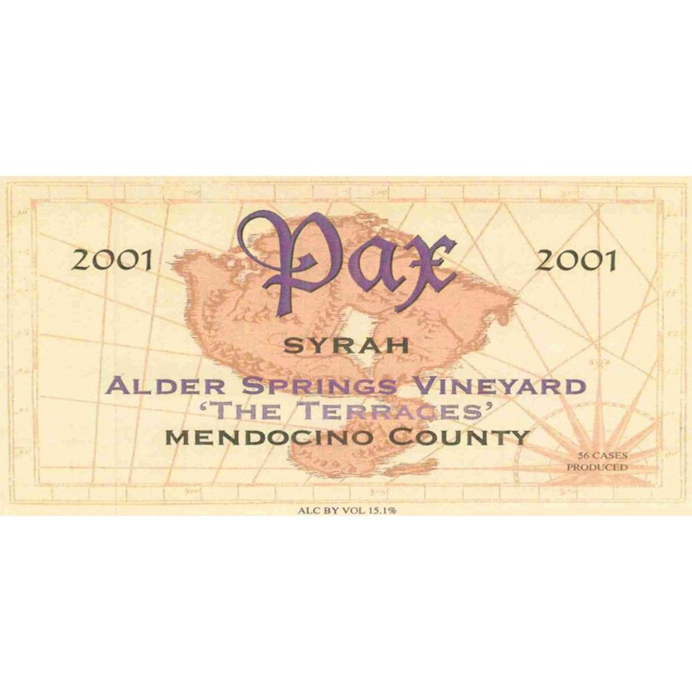 Pax Springs Vineyard The Terraces Syrah 2001 Front Label