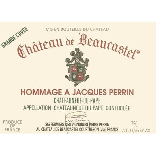 Chateau de Beaucastel Hommage Jacques Perrin Chateauneuf-du-Pape (stained label) 2003 Front Label