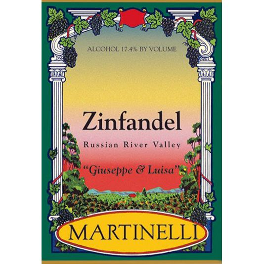 Martinelli Giuseppe and Luisa Zinfandel 1997 Front Label