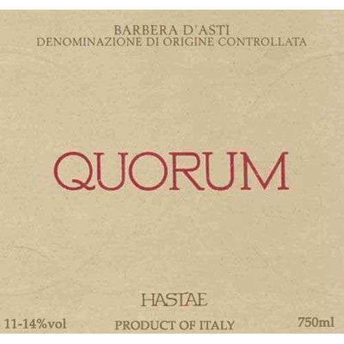 Hastae Barbera d'Asti Quorum 1999 Front Label