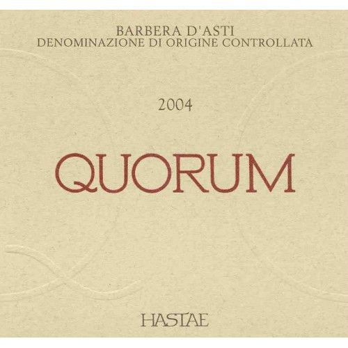 Hastae Barbera d'Asti Quorum 2004 Front Label
