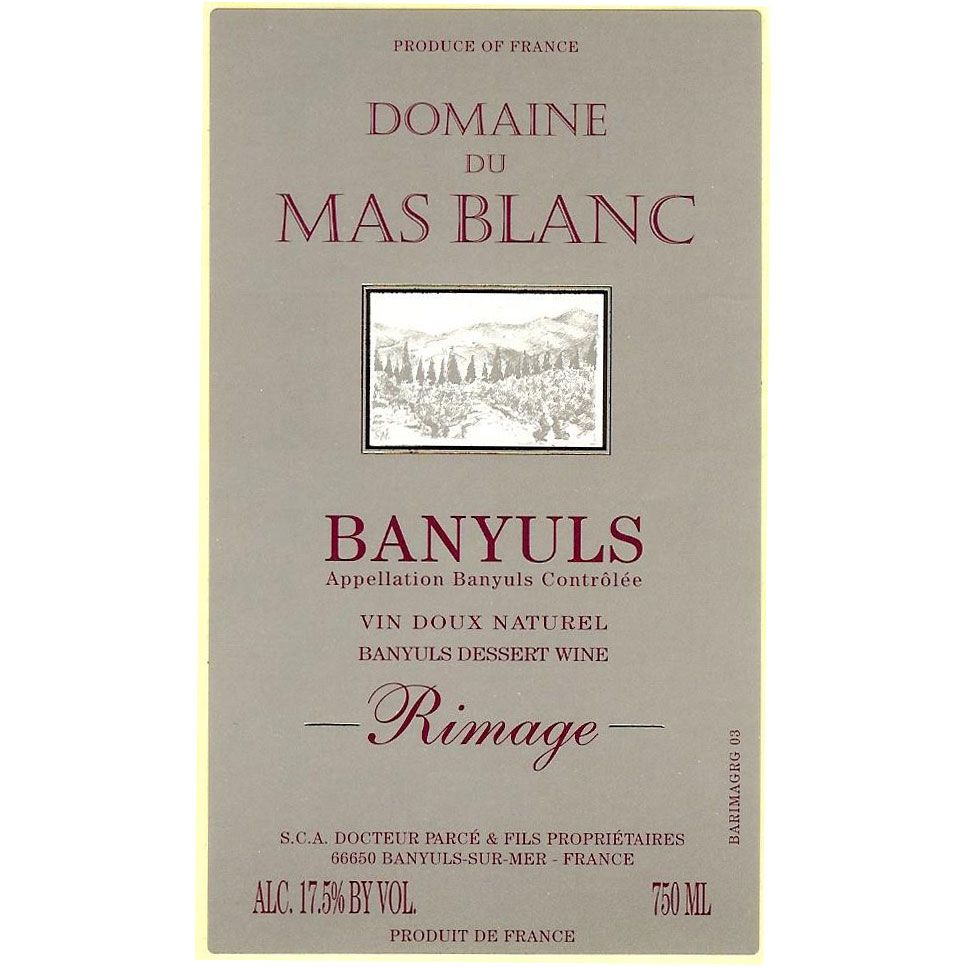 Domaine du Mas Blanc Banyuls Rimage (375ML half-bottle) 2004 Front Label