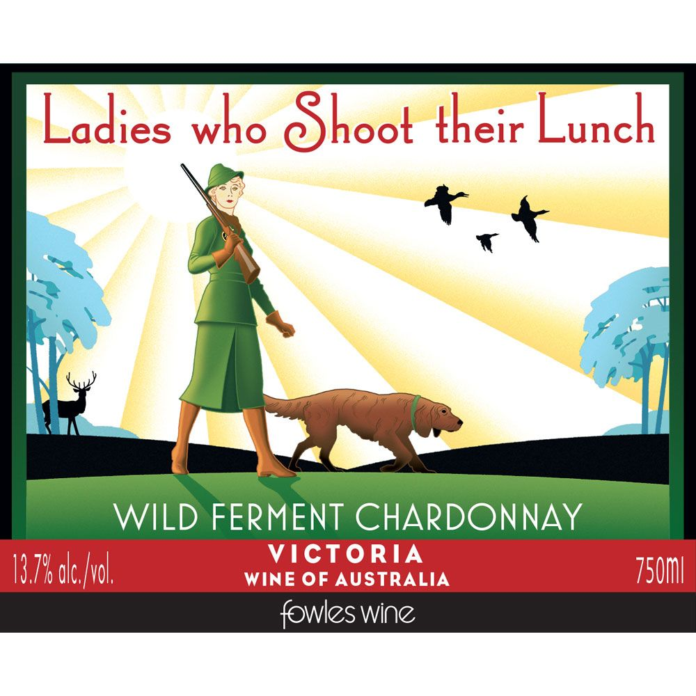 Fowles Wine Ladies Who Shoot Their Lunch Chardonnay 2014 Front Label