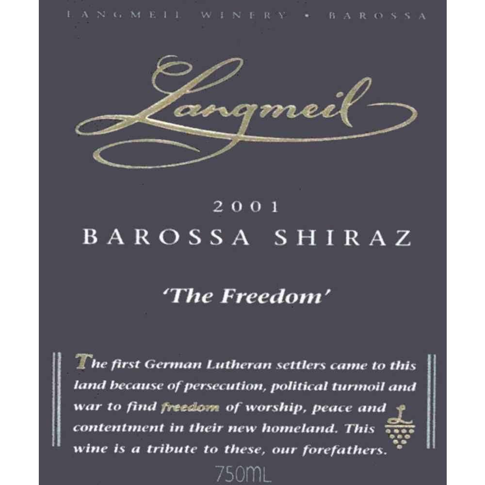 Langmeil The Freedom Shiraz 2001 Front Label