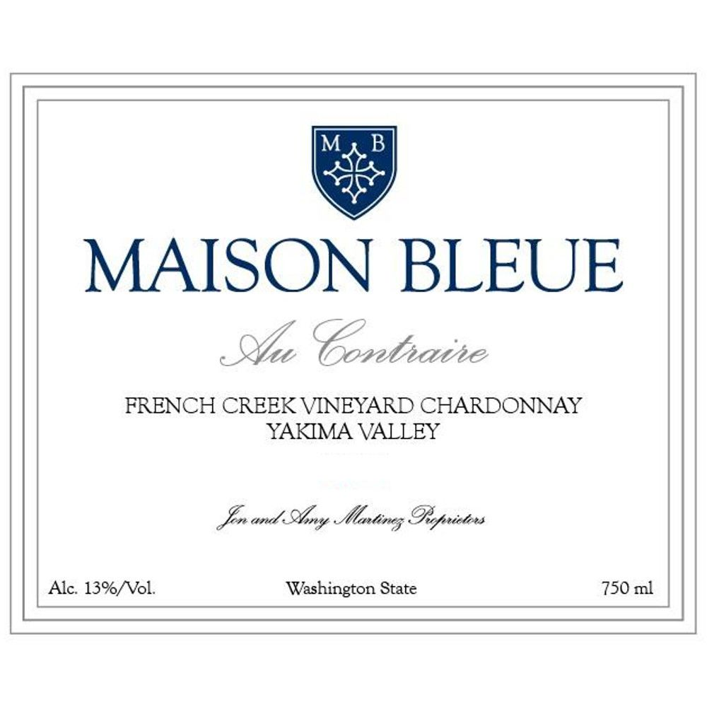 Maison Bleue Winery Au Contraire French Creek Vineyard Chardonnay 2010 Front Label