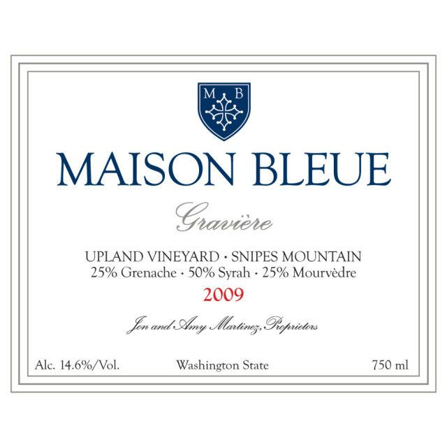 Maison Bleue Winery Graviere Upland Vineyard GSM 2009 Front Label