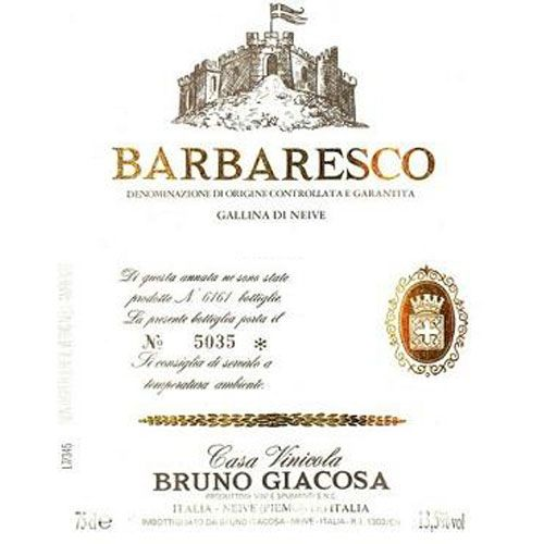 Bruno Giacosa Barbaresco Gallina di Nieve 1986 Front Label