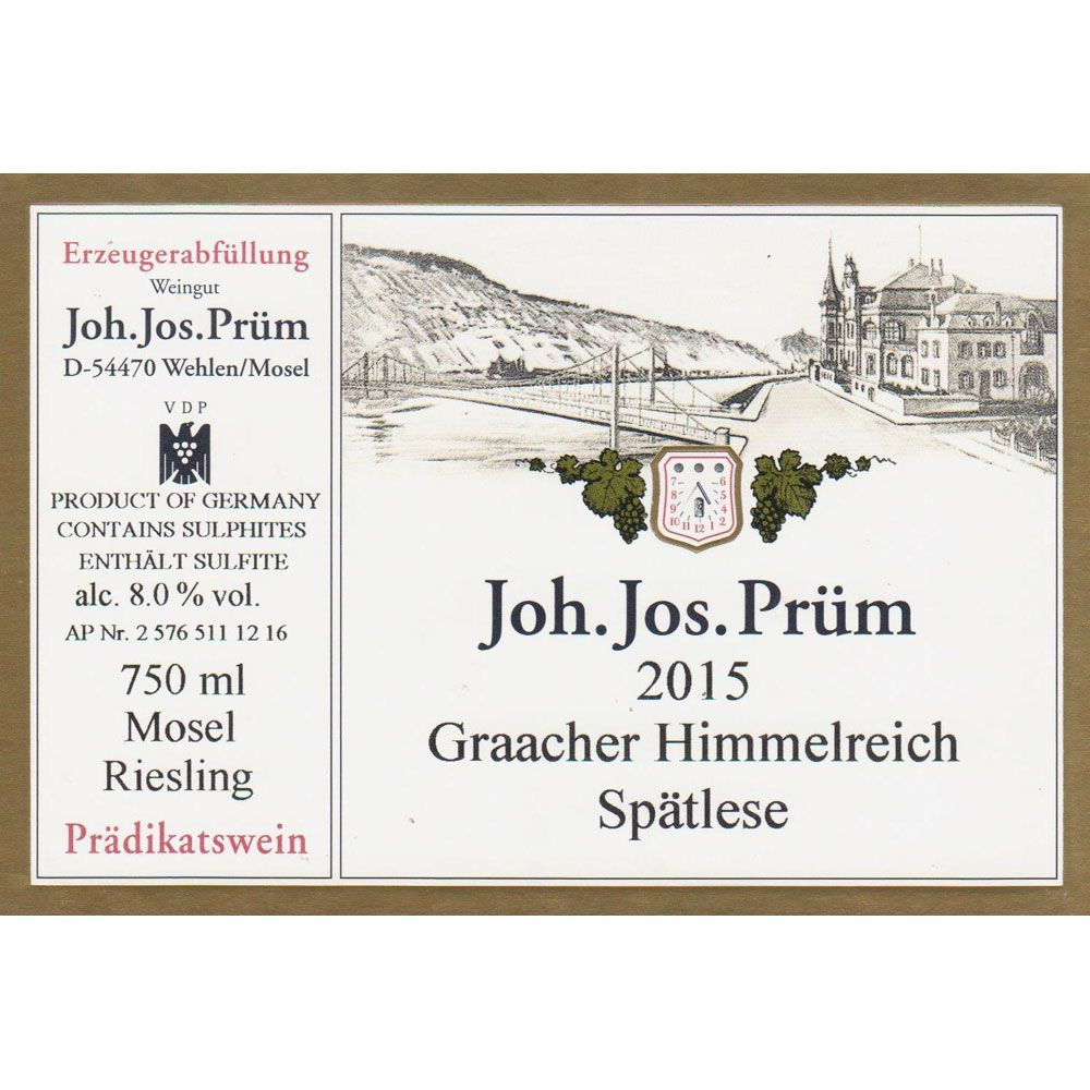 J.J. Prum Graacher Himmelreich Spatlese Riesling 2015 Front Label