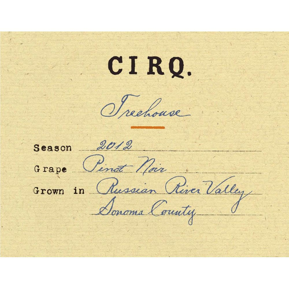 Cirq Treehouse Pinot Noir 2012 Front Label