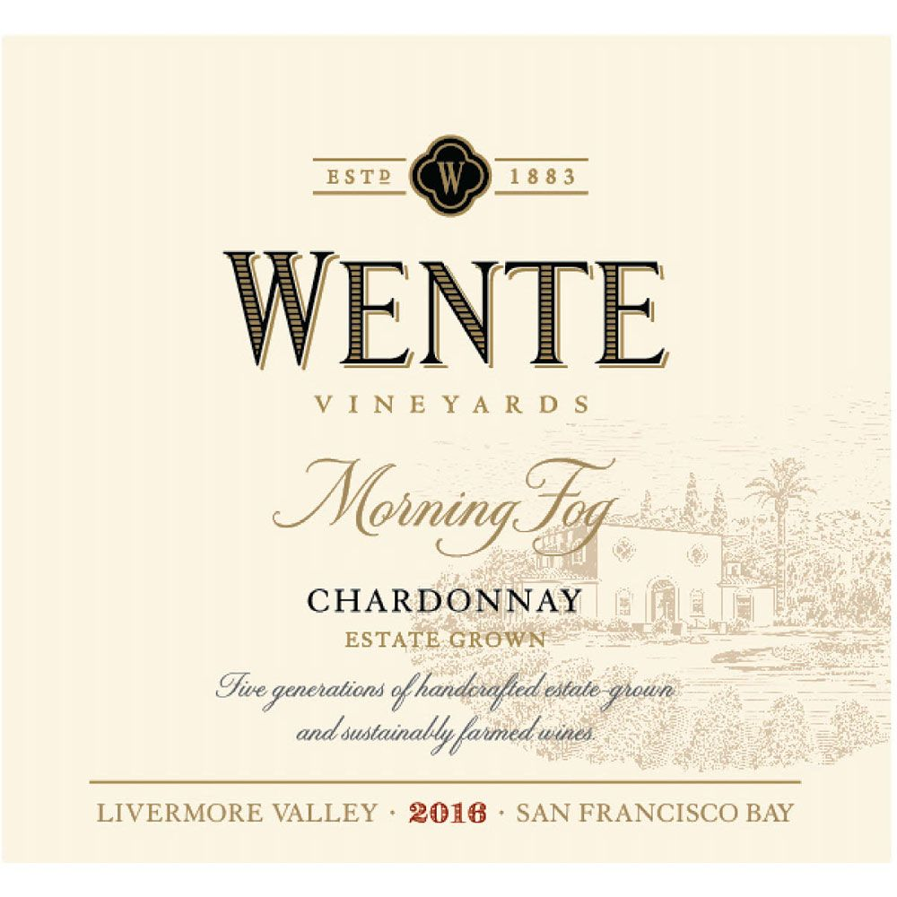 Wente Morning Fog Chardonnay 2016 Front Label