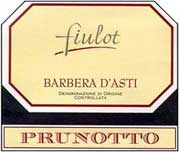 Prunotto Fiulot Barbera d'Asti 1999 Front Label