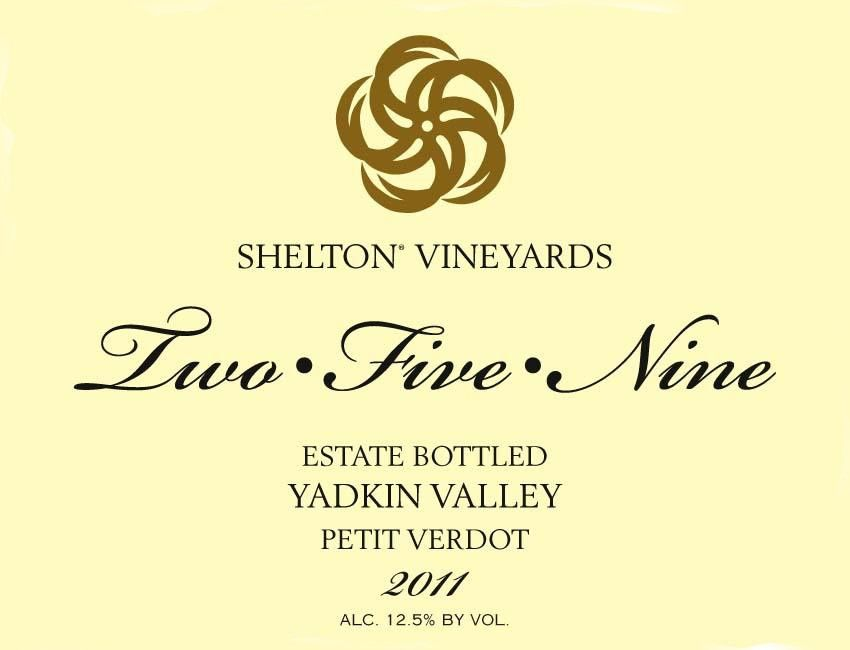 Shelton  Two Five Nine Petit Verdot 2011 Front Label