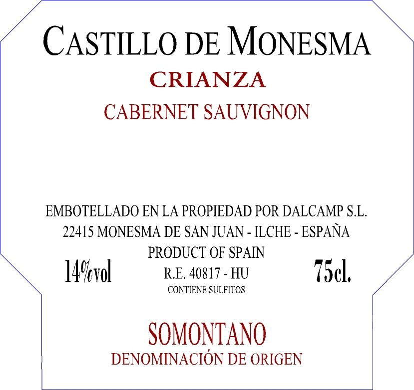Castillo de Monesma Crianza 2004 Front Label