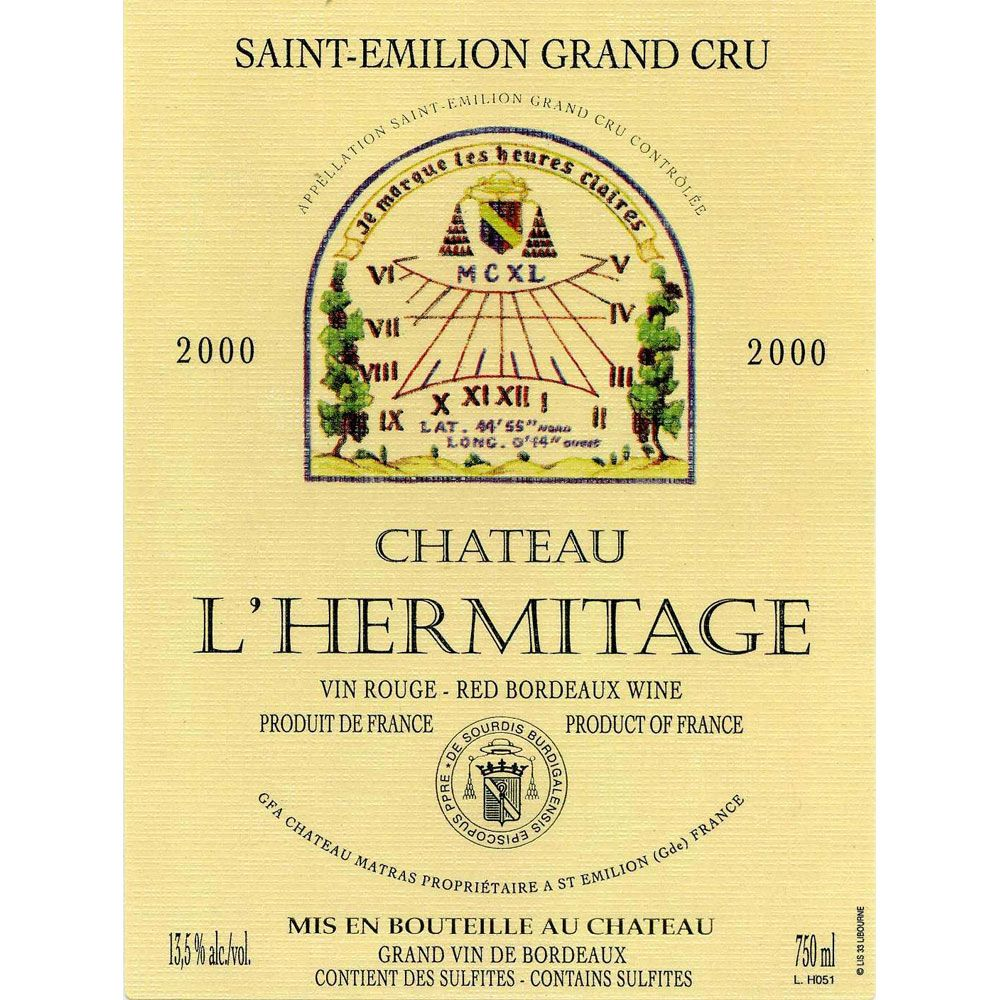 Chateau L'Hermitage  2000 Front Label