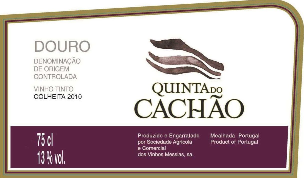 Caves Messias Quinta do Cachao 2010 Front Label