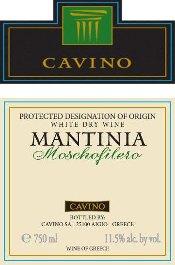 Cavino Winery & Distillery Mantinia Moschofilero 2014 Front Label