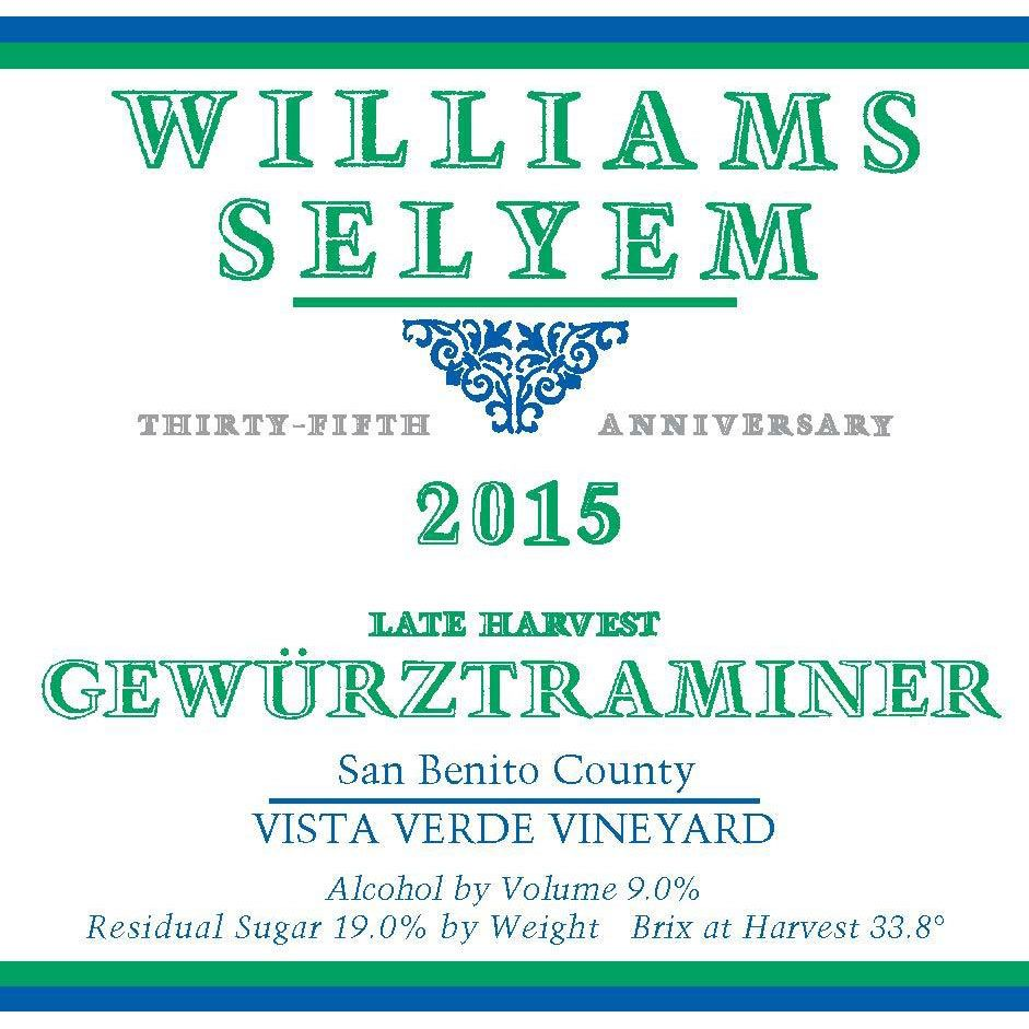 Williams Selyem Late Harvest Gewurztraminer (375ML half-bottle) 2015 Front Label