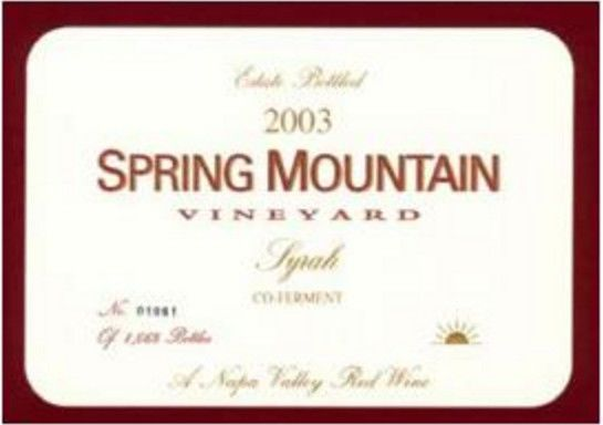 Spring Mountain Vineyard Co-Ferment Syrah 2003 Front Label