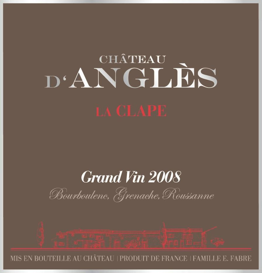 Chateau d'Angles La Clape Grand Vin Blanc 2008 Front Label