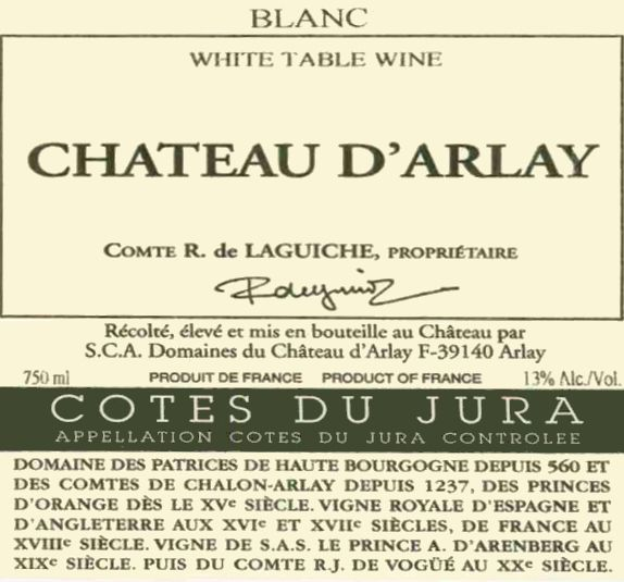 Chateau d'Arlay Cotes du Jura Tradition Blanc 2009 Front Label
