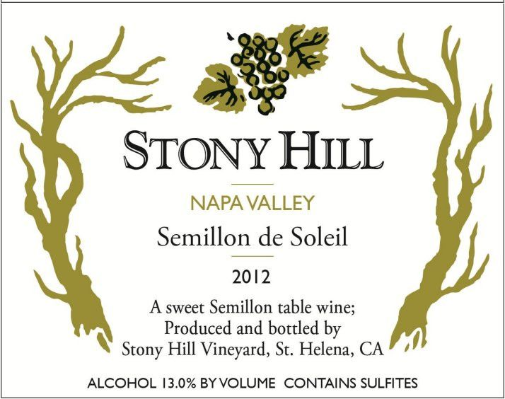 Stony Hill Semillon de Soleil (375ML half-bottle) 2012 Front Label