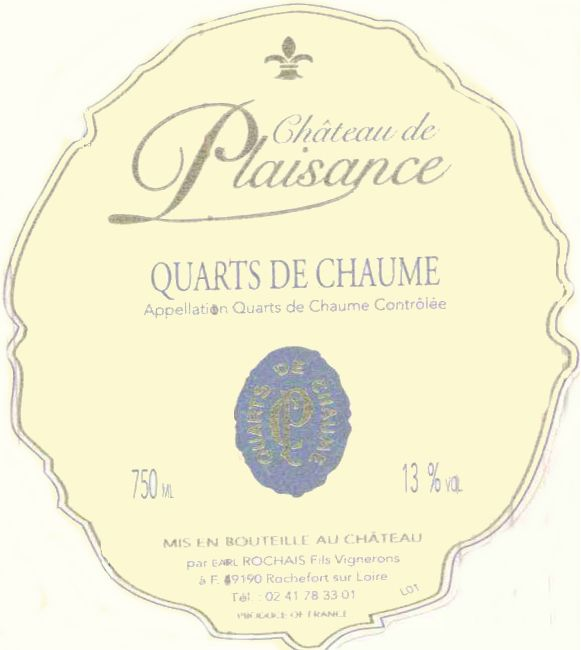 Chateau Plaisance Quarts de Chaume 2007 Front Label