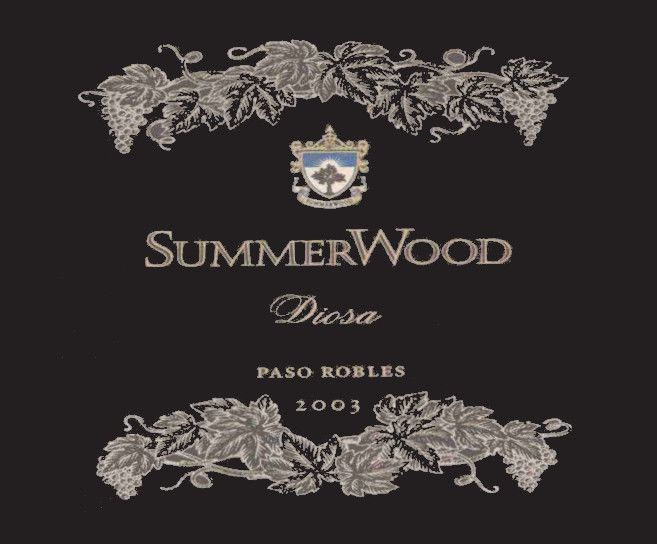 SummerWood Diosa Red 2003 Front Label