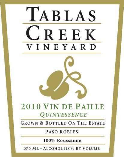 Tablas Creek Vin de Paille Quintessence Roussanne 2010 Front Label
