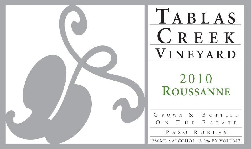 Tablas Creek Roussanne 2010 Front Label