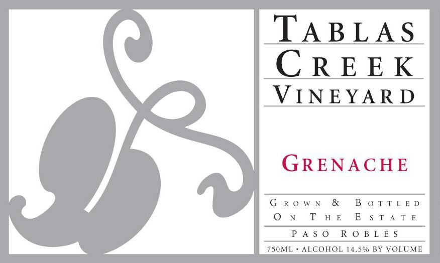 Tablas Creek Grenache 2010 Front Label