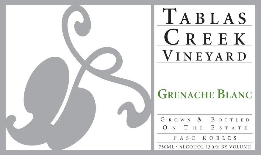 Tablas Creek Grenache Blanc 2012 Front Label
