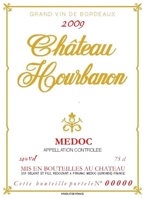 Chateau Hourbanon Medoc 2009 Front Label