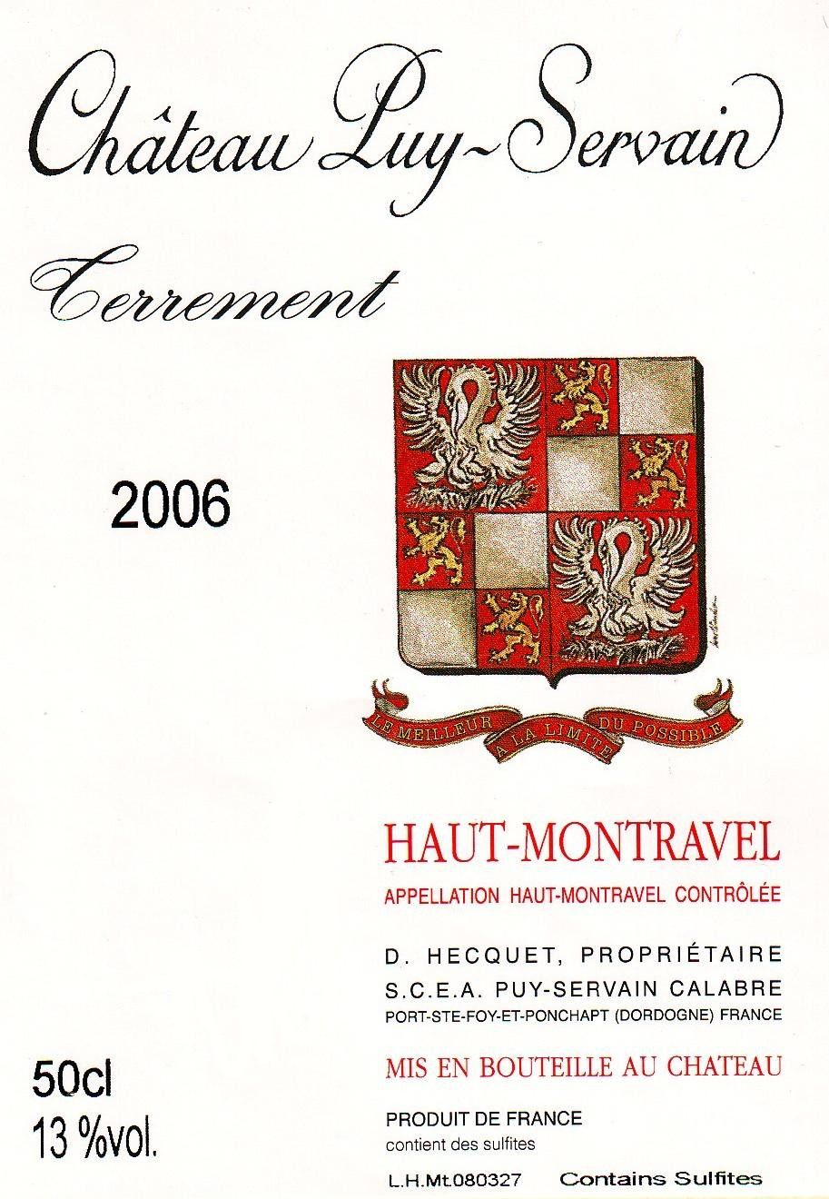Chateau Puy Servain Terrement 2006 Front Label