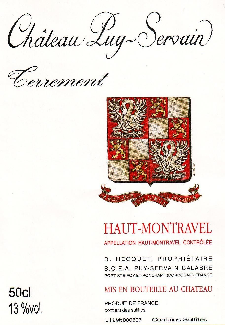 Chateau Puy Servain Terrement 2009 Front Label