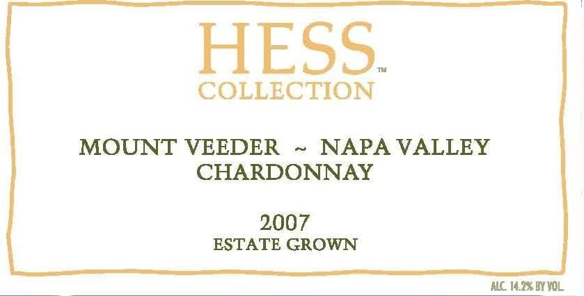 Hess Chardonnay 2007 Front Label