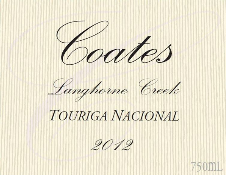 Coates Wines Touriga Nacional 2012 Front Label