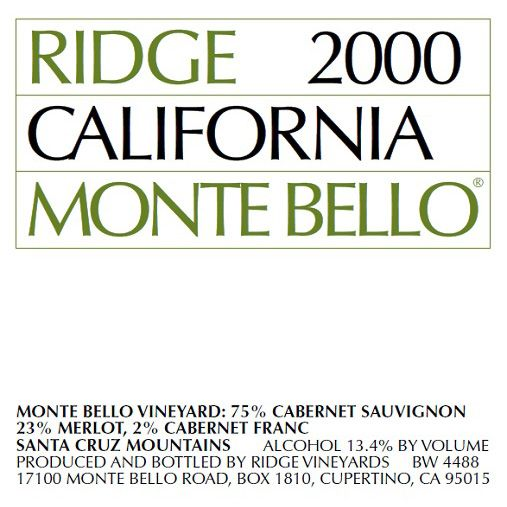 Ridge Monte Bello 1977 Front Label