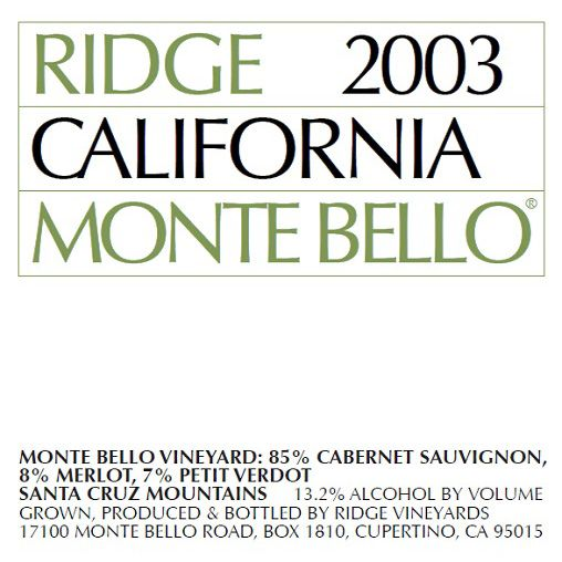 Ridge Monte Bello (1.5 Liter Magnum - stained label) 2003 Front Label