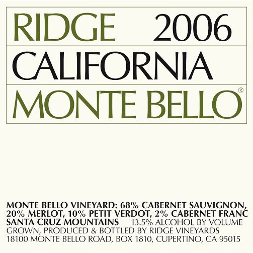 Ridge Monte Bello (1.5 Liter Magnum) 2006 Front Label