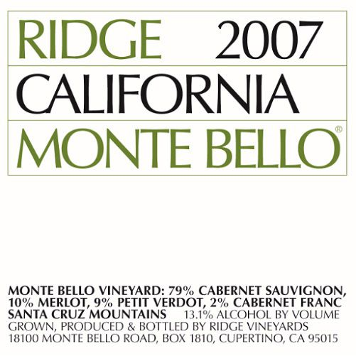 Ridge Monte Bello (1.5 Liter Magnum) 2007 Front Label