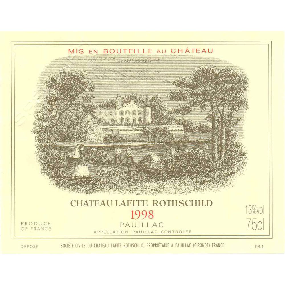 Chateau Lafite Rothschild  1998 Front Label