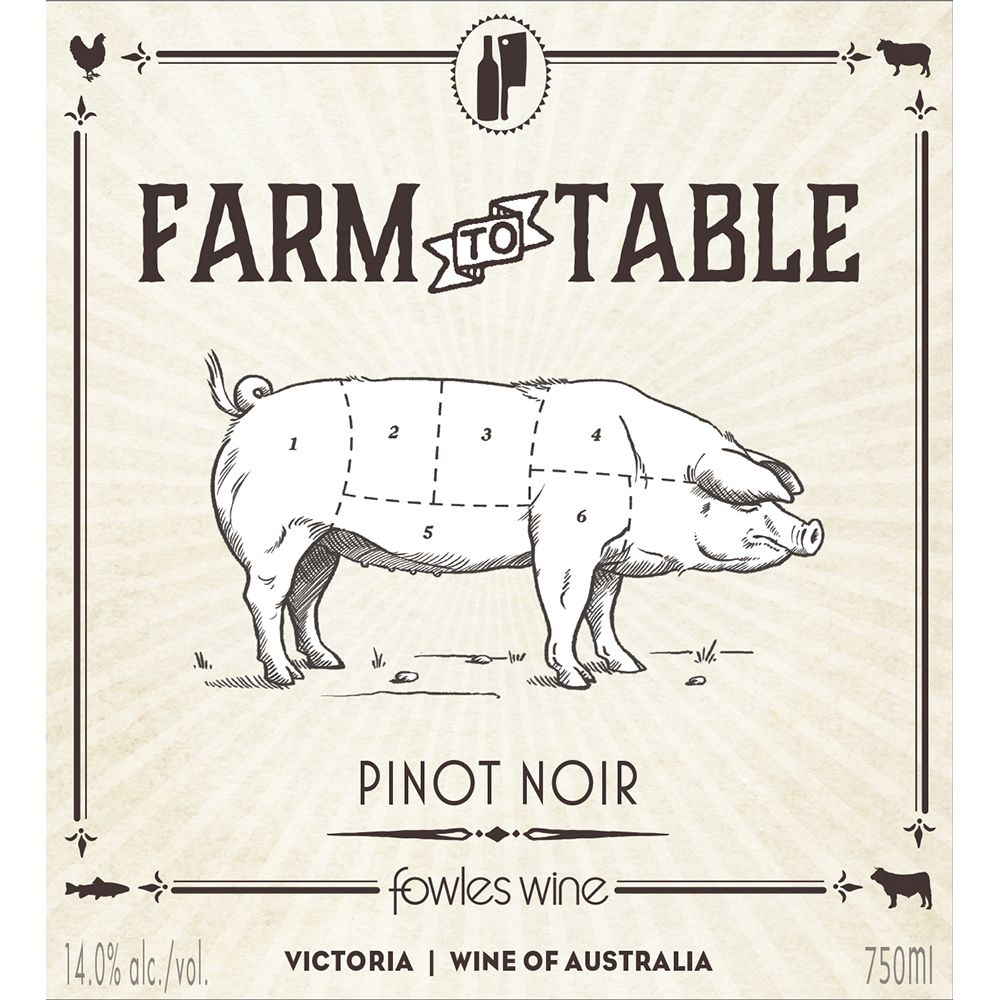 Fowles Wine Farm to Table Pinot Noir 2015 Front Label