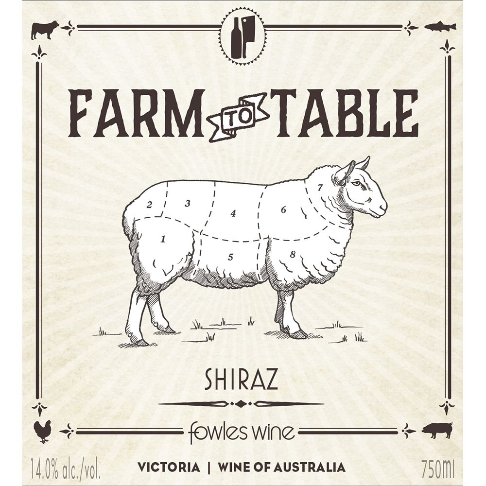 Fowles Wine Farm to Table Shiraz 2013 Front Label