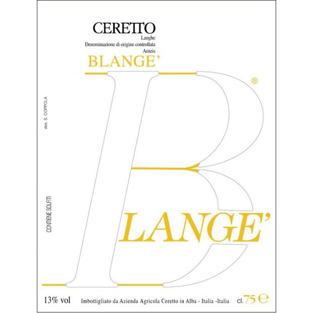 Ceretto Arneis Blange 2016 Front Label