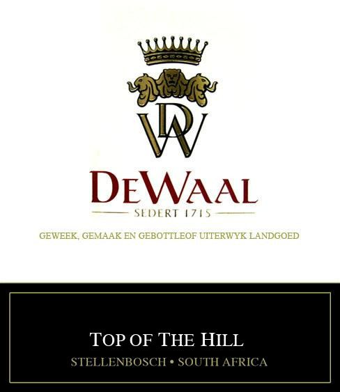 DeWaal Wines Top of the Hill Pinotage 2010 Front Label