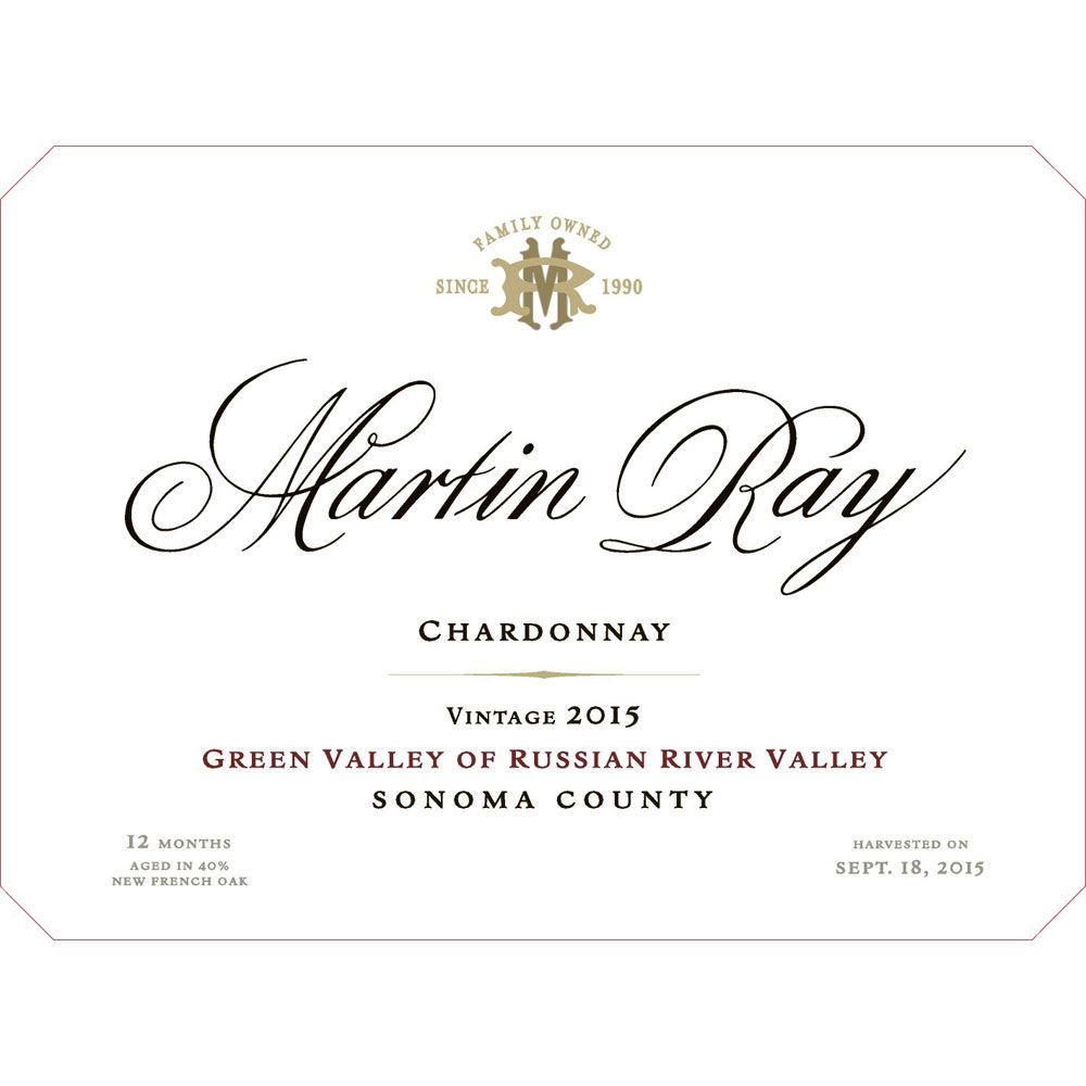 Martin Ray Green Valley Chardonnay 2015 Front Label